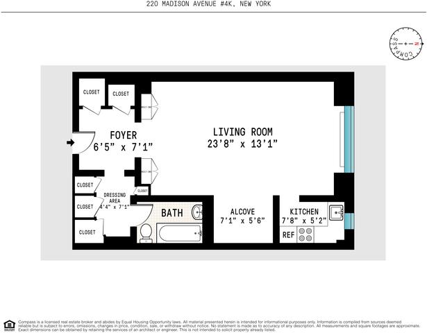 Floor plan of 220 Madison Avenue, 4K - Murray Hill, New York