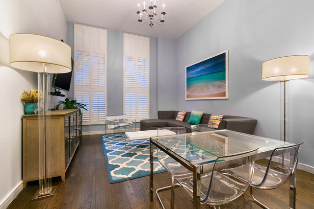 Available furnished or unfurnished for minimum 12 month lease beginning July 1, 2019.Fantastic 1 Bed, 1.5 Bath + large Home Office with a sliding door - easily functions as a Bedroom- in the heart of TriBeCa. One of the only floors with 13 ft. ceilings, this 1,383 sq. ft. condo is a dream.The open Chef's Kitchen is beautifully appointed with Poggenpohl cabinetry, a massive waterfall island, integrated Subzero refrigerator and Bosch stove, range and dishwasher. The Master Bedroom includes a very large custom designed California Closet to suit your needs. The oversized en-suite Master Bath features a double sink and a deep soaking tub. The large Den/Home Office includes abundant closet space and is adjacent to the Powder Room.This condo includes generous amenities including: - 5,000 sq. ft. roof deck / sundeck with stunning NYC views, sundeck - lounge and common area - Indoor pool with a state-of-the-art fitness center - children's play room - Library - Full time doorman and conciergePets allowed with a pet deposit equal to one month's rent.Showings by appointment only with 24 hours notice, tenant in place.