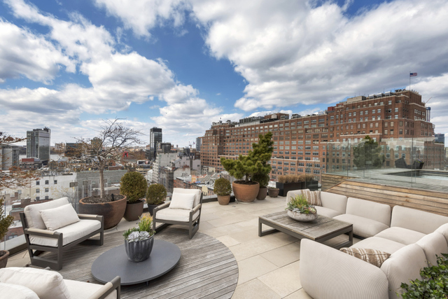 One-of-a-Kind Penthouse Retreat Situated in the Greenwich Village historic district, this triplex penthouse boasts approximately 5,574 square feet of living space and 1,690 square feet of outdoor space with 4 bedrooms, 4 full bathrooms, and 3 half baths. Unique features include a private, planted and furnished roof terrace complete with a 14-foot wide heated swimming pool, outdoor kitchen, two fireplaces, and a commercial grade elevator serving all 3 levels. Enter the home from 2 private-keyed-elevators and be greeted by a 19+ foot deep gallery that extends into the expansive great room. Sun spills from the floor-to-ceiling curved wall windows affording breathtaking views of the New York City skyline.  The impeccably designed home boasts 10-foot ceilings, an open chef's kitchen replete with walnut and warm white lacquer cabinetry, Miele appliances, Sub-Zero refrigerator and wine cooler. The master suite is encompassed with North, West, and East exposures and features a gracious walk-in closet, en-suite bath complemented with a double vanity, deep soaking tub and Dornbracht designed shower. All the bedrooms are sun-drenched from floor-to-ceiling windows. Each appointed with an en-suite bath adorned in Calacatta marble walnut vanities and medicine cabinets, and radiant floor heating. One Jackson Square at 122 Greenwich Avenue is the epitome of luxury accommodations and forward-thinking, eco-friendly design. The building's LEED certification makes this the first Green building in the Village. Designed by world renowned architect Kohn Pederson and Fox. Conveniently located near the Meatpacking and Chelsea District's boutique shopping, fine dining, and entertainment.  Building amenities include a 24-hour concierge, fitness center, spa treatment room, lounge with gourmet catering kitchen, private storage, and a common landscaped courtyard garden. There is a tax abatement in place.