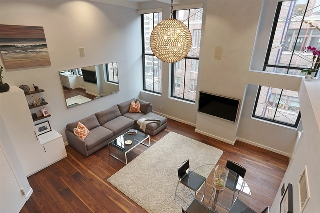 DESIGNER FURNISHED one bedroom LOFT at The Printing House in the West Village. This fabulous south facing home features 15 foot ceilings in the living room, windowed bedroom and two full bathrooms. The chef's kitchen has extensive storage options and features Viking and Bosch appliances with gloss lacquer cabinetry and Silestone countertops. Built out closets, an in-home Miele washer/dryer and a full bath complete the first floor. A custom designed iron staircase leads to the second floor with a well-proportioned enclosed bedroom, walk in closet and a full bath. There is walnut wide-plank flooring throughout and the home is pre-wired for cable and audio along with a dual zoned HVAC heating and cooling system.The Printing House Condominium is a full service pre-war boutique building with easy access to Soho, Tribeca and the Meatpacking District. One of the city's premiere Equinox locations is located within the building and provides a rooftop terrace and pool for an additional fee.Available fully furnished only for 6 to 12 months. *Rate for 6 months will between $8500/month.